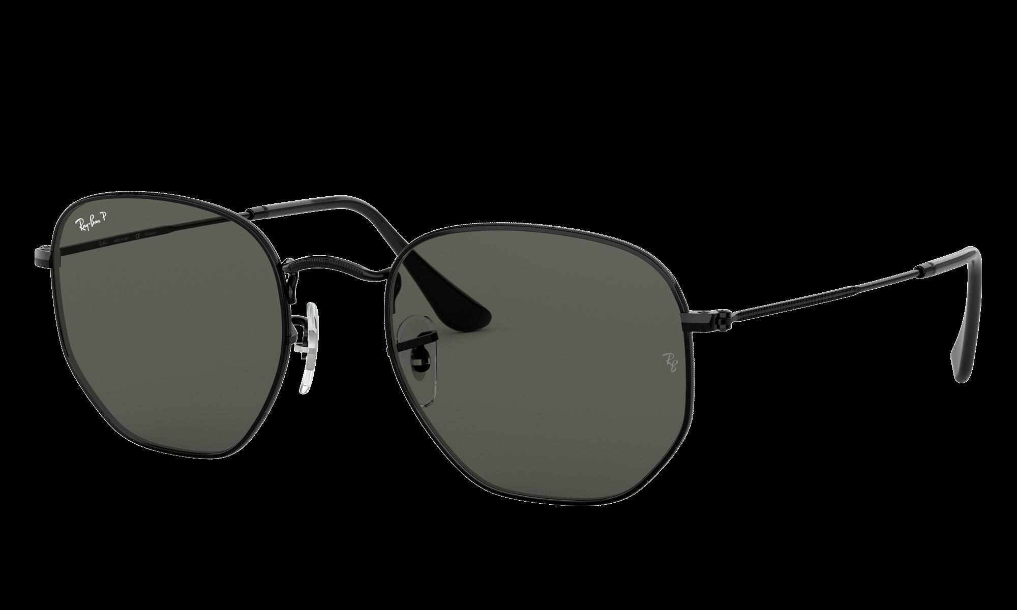 1940s Men's Clothing Ray-Ban Unisex Hexagonal Flat Lenses Black Size Standard $204.00 AT vintagedancer.com