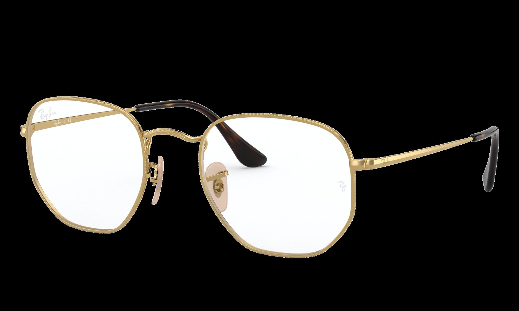 Retro Sunglasses | Vintage Glasses | New Vintage Eyeglasses Ray-Ban Unisex Hexagonal Optics Gold Size Standard $173.00 AT vintagedancer.com