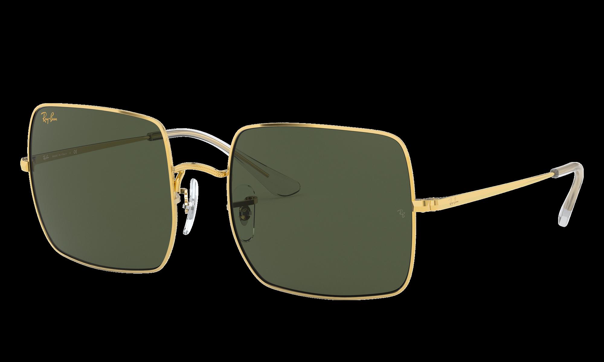 1960s Sunglasses | 70s Sunglasses, 70s Glasses Ray-Ban Unisex Square 1971 Legend Gold Gold Size Standard $154.00 AT vintagedancer.com
