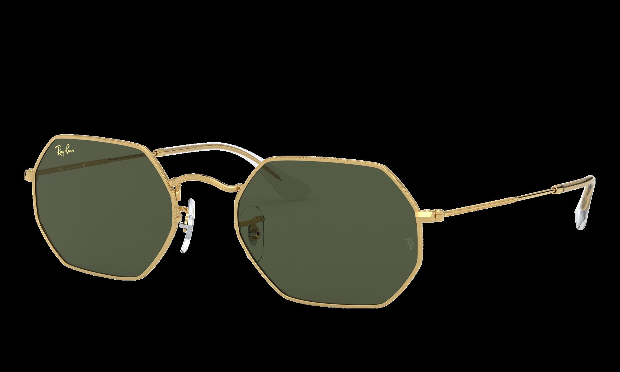 1960s Sunglasses | 70s Sunglasses, 70s Glasses Ray-Ban Unisex Octagonal Legend Gold Gold Size Standard $154.00 AT vintagedancer.com