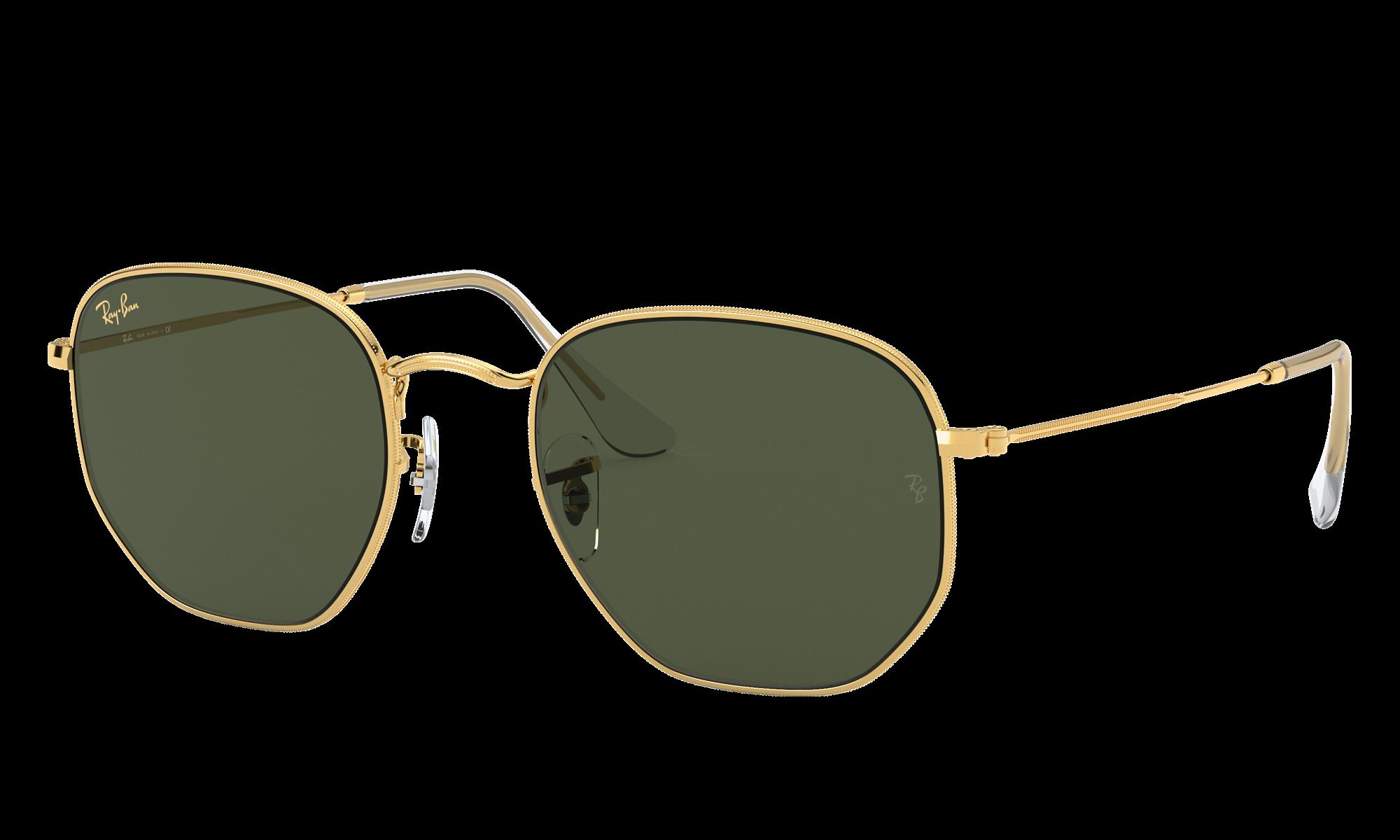 1960s Sunglasses | 70s Sunglasses, 70s Glasses Ray-Ban Unisex Hexagonal Legend Gold Gold Size Standard $154.00 AT vintagedancer.com